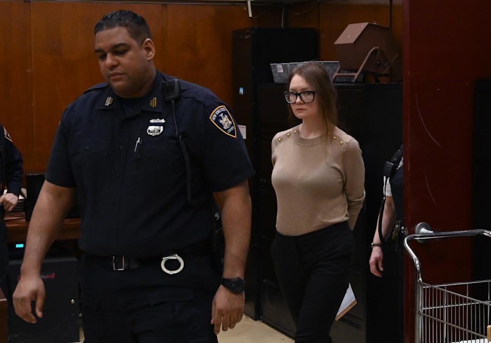 Anna Sorokin better known as Anna Delvey, the 28-year-old German national, whose family moved there in 2007 from Russia, is seen in the courtroom  during her trial at New York State Supreme Court in New York on April 11, 2019. - The self-styled German heiress has been charged with grand larceny and theft of services charges alleging she swindled various people and businesses. (Photo by TIMOTHY A. CLARY / AFP)        (Photo credit should read TIMOTHY A. CLARY/AFP via Getty Images)