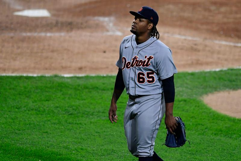 Detroit Tigers relief pitcher Gregory Soto leaves the baseball game against the Chicago White Sox during the eighth inning Tuesday, Aug. 18, 2020, in Chicago at Guaranteed Rate Field.