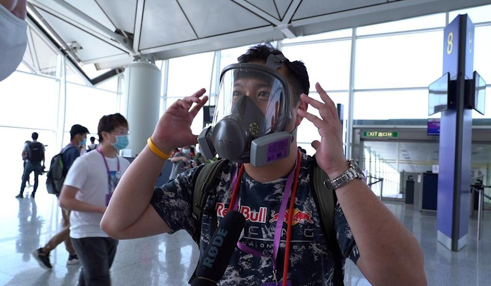 Patrick Poon gets ready to board the HK Express flight over Hong Kong. Photo: Handout