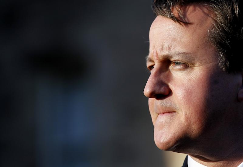 British Prime Minister David Cameron pauses during a press conference at Stormont Castle, Belfast, Northern Ireland, Tuesday, Nov. 20, 2012. The Prime Minister arrived in the province to announce that that the G8 will be held in  Fermanagh  Northern Ireland in June 2013.  (AP Photo/Peter Morrison)