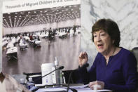 Sen. Susan Collins, R-Maine, speaks during a Senate Appropriations committee hearing to examine domestic extremism, Wednesday, May 12, 2021 on Capitol Hill in Washington. (Alex Wong/Pool via AP)