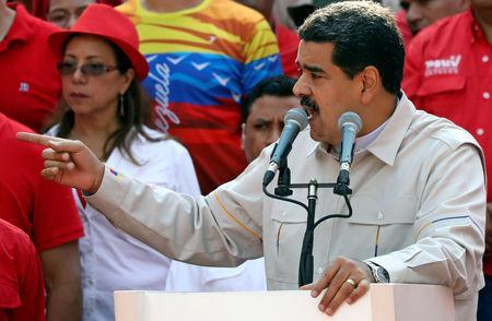 FILE PHOTO - Venezuela's President Nicolas Maduro gives a speech during a rally in support of his government in Caracas, Venezuela April 6, 2019. REUTERS/Manaure Quintero
