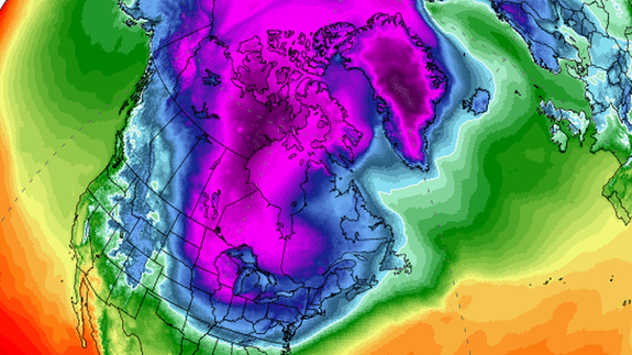 Arctic air flowing south into the U.S. on January 31, 2019.