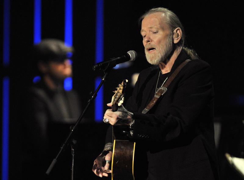 """FILE - In this Oct. 13, 2011, file photo, Gregg Allman performs at the Americana Music Association awards show in Nashville, Tenn. On Monday, March 13, 2017, Allman posted on his website that he has canceled all of his scheduled tour dates for the year. The 69-year-old rocker posted that """"it has been determined that Gregg will not be touring in 2017."""" In November 2016, Allman said he was taking several months off from touring so he can """"focus on his health,"""" but still had plans to tour. (AP Photo/Joe Howell, File)"""