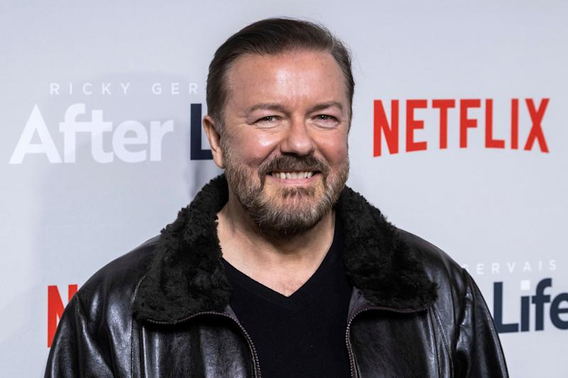 "Ricky Gervais attends a screening of Netflix's ""After Life"" at the Paley Center for Media on Thursday, March 7, 2019, in New York. (Photo by Charles Sykes/Invision/AP)"