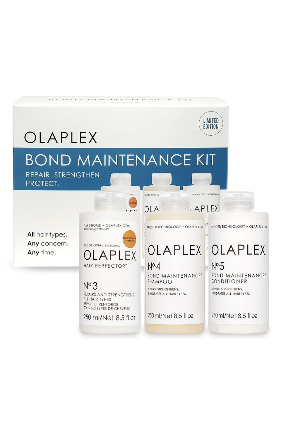 """<p><strong>Olaplex</strong></p><p>nordstrom.com</p><p><strong>$84.00</strong></p><p><a href=""""https://go.redirectingat.com?id=74968X1596630&url=https%3A%2F%2Fwww.nordstrom.com%2Fs%2Folaplex-bond-maintenance-hair-care-set-126-value%2F5890360&sref=https%3A%2F%2Fwww.elle.com%2Fbeauty%2Fg36944650%2Fnorstrom-anniversary-beauty-sale-2021%2F"""" rel=""""nofollow noopener"""" target=""""_blank"""" data-ylk=""""slk:Shop Now"""" class=""""link rapid-noclick-resp"""">Shop Now</a></p><p>Look, you know and I both know that your flat iron shouldn't be cranked up to 45o degrees. But we also both know that you're not going to stop. So instead grab these bottles from Olaplex to fix those crispy, straw-like strands.</p>"""