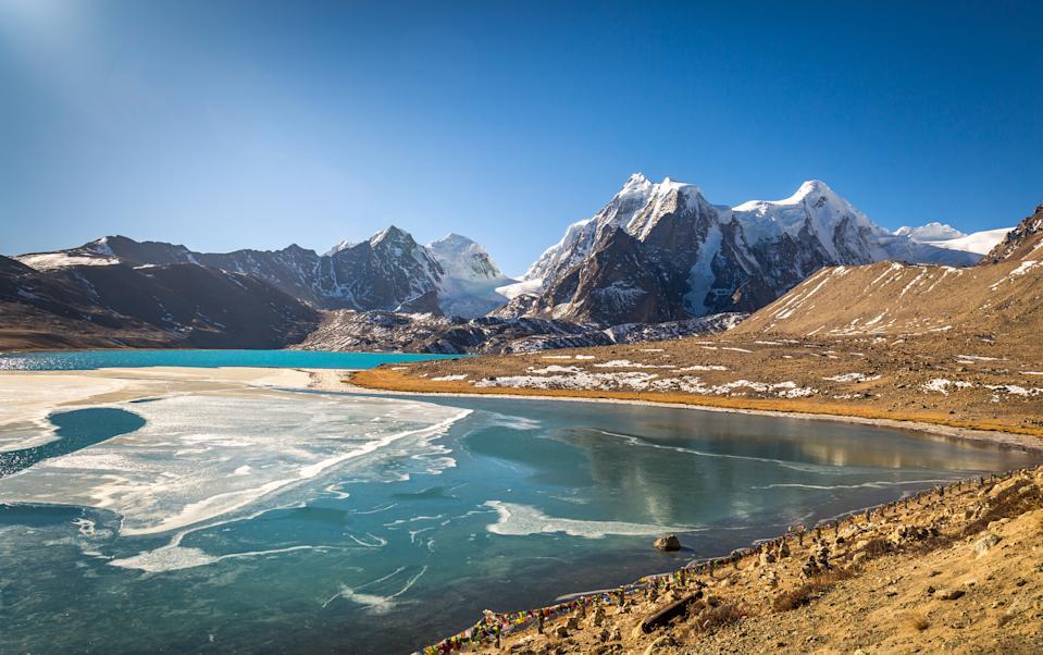 Gurudongmar Lake in North Sikkim India - One of the high altitude lakes in the world located at 17800 ft.