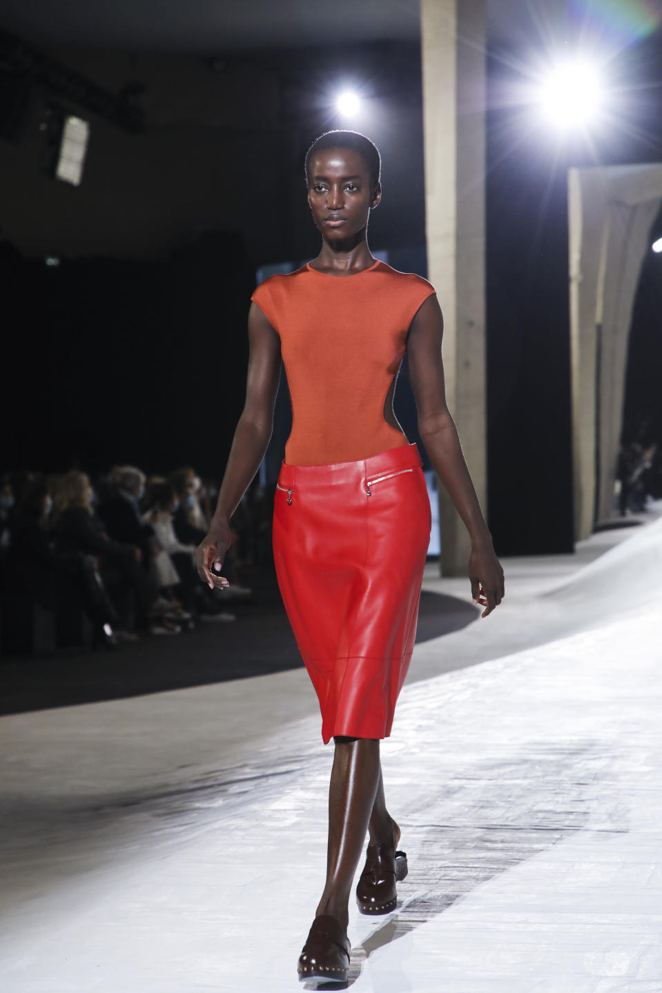 A model wears a creation for the Hermes Spring-Summer 2021 fashion collection, Saturday, Oct. 3, 2020, during Paris fashion week. (Photo by Vianney Le Caer/Invision/AP)