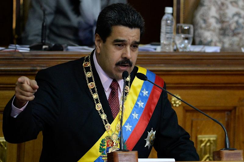 Venezuelan President Nicolas Maduro delivers a speech at the National Assembly in Caracas on July 6, 2015