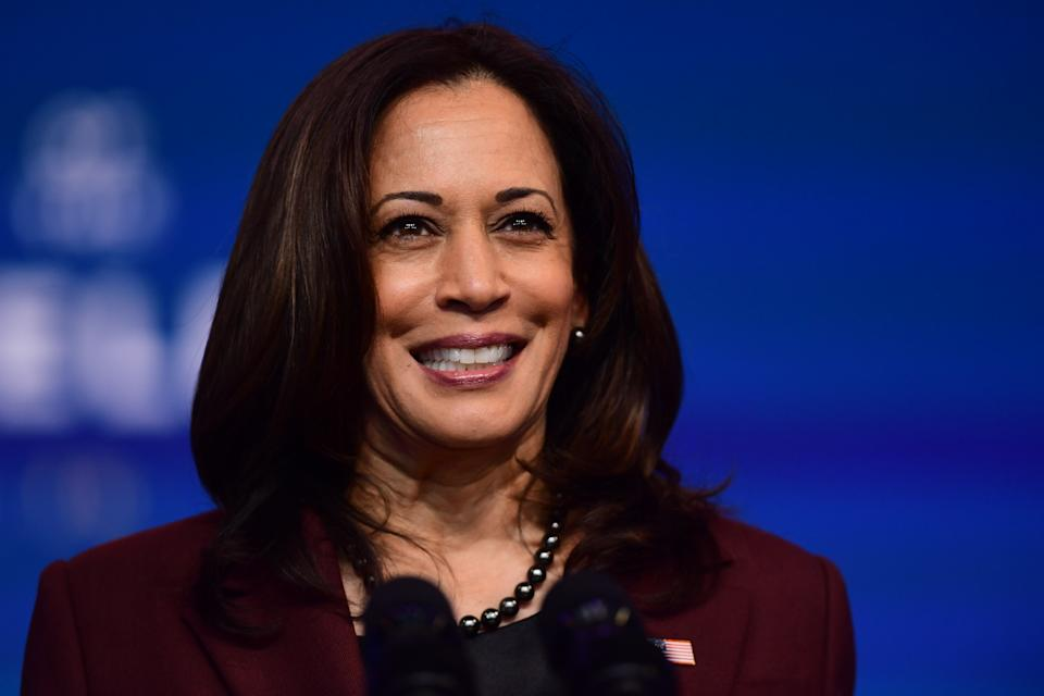 WILMINGTON, DE - NOVEMBER 24:  Vice President-elect Kamala Harris speaks after President-elect Joe Biden introduced key foreign policy and national security nominees and appointments at the Queen Theatre on November 24, 2020 in Wilmington, Delaware. As President-elect Biden waits to receive official national security briefings, he is announcing the names of top members of his national security team to the public. Calls continue for President Trump to concede the election as the transition proceeds. (Photo by Mark Makela/Getty Images)