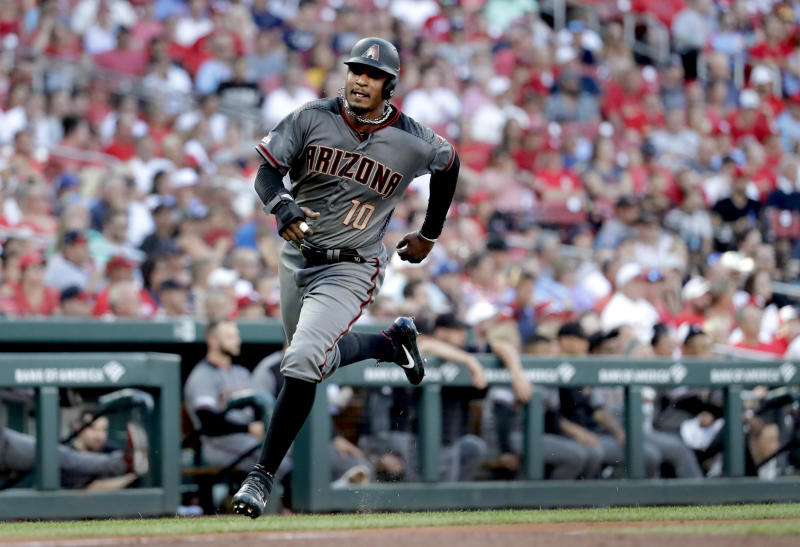 Arizona Diamondbacks' Adam Jones runs in to score during the second inning of a baseball game against the St. Louis Cardinals on Saturday, July 13, 2019, in St. Louis. (AP Photo/Jeff Roberson)