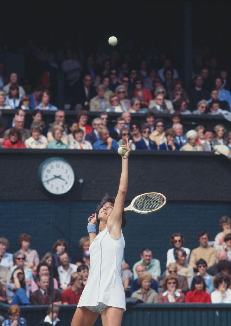 <p>Virginia Wade of Great Britain serves against Chris Evert during their Women's Singles Semi Final match in July 1978.</p>