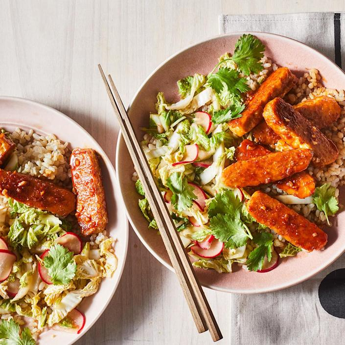 <p>If you're a tempeh skeptic, you've probably never had the firm soy-based slabs slathered with a sweet-and-spicy barbecue sauce. We give this easy BBQ tempeh combo a punch of umami with tamari and add a little heat courtesy of gochujang. It's easy to put your own spin on this recipe; see Variations (below) for some riffs.</p>