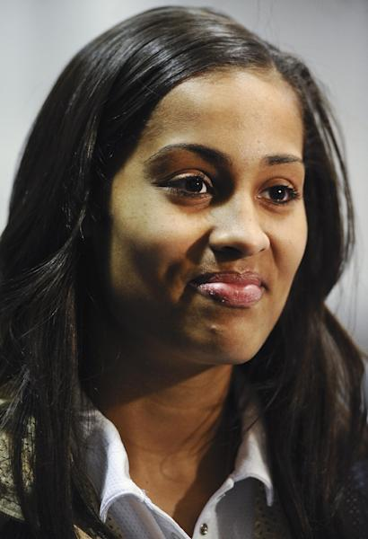 Notre Dame's Skylar Diggins, is interviewed after receiving the Big East Conference's women's basketball player of the year award in Hartford, Conn., Friday, March 8, 2013.(AP Photo/Jessica Hill)