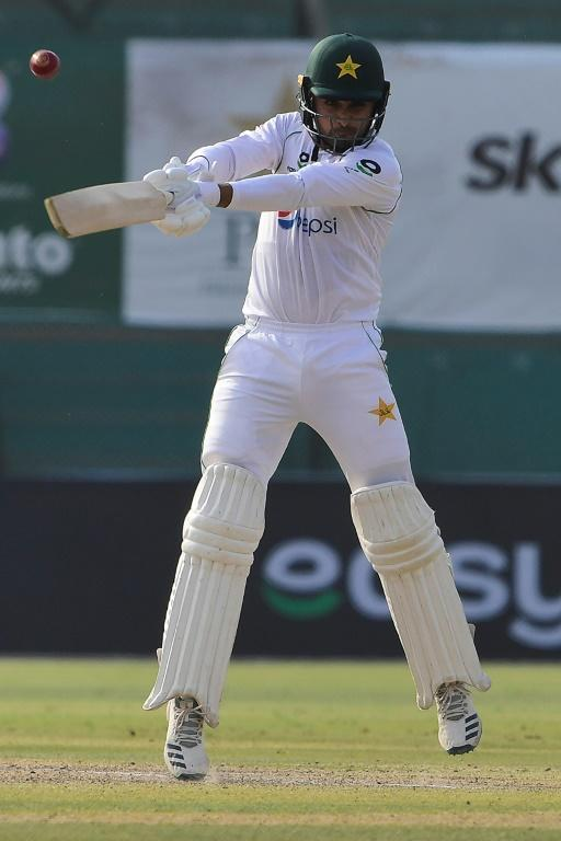 Faheem Ashraf gets up on his toes as he cracks a sprightly 64 against South Africa