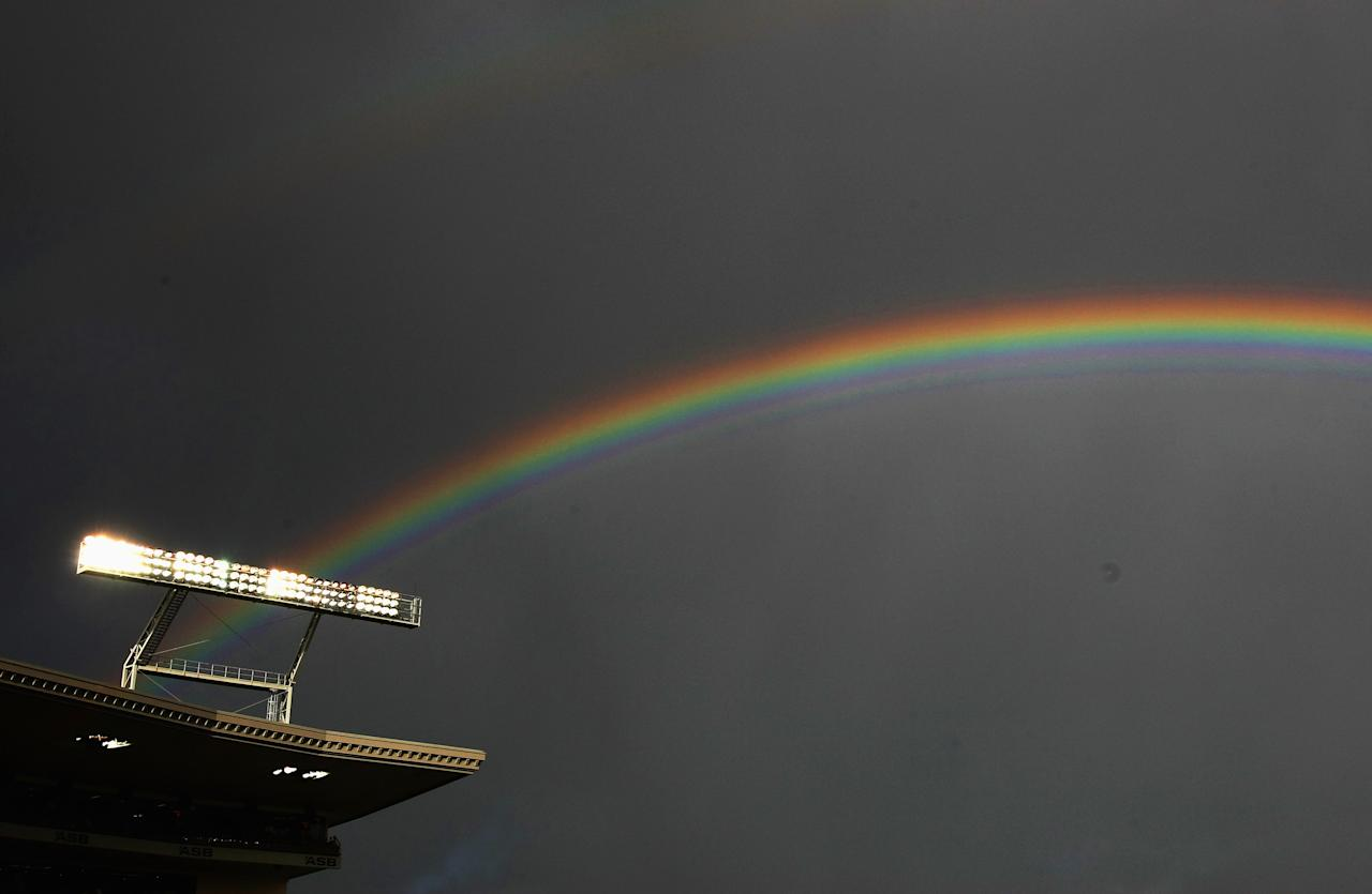 AUCKLAND, NEW ZEALAND - FEBRUARY 15:  A rainbow is seen over the ground as play is stopped due to rain during the third National Bank series One Day International match between New Zealand and England at Eden Park on February 15, 2008 in Auckland, New Zealand.  (Photo by Clive Rose/Getty Images)