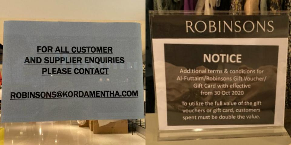 The signs put up around the Raffles City outlet. Photos: Coconuts