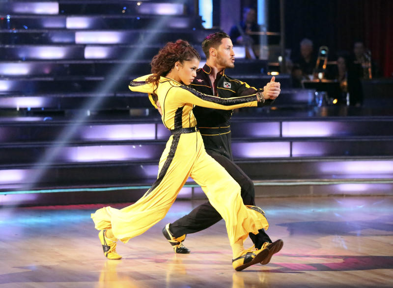 """This May 13, 2013 photo released by ABC shows actress Zendaya Coleman and her partner Val Chmerkovskiy performing on the celebrity dance competition series """"Dancing with the Stars,"""" in Los Angeles. Zendaya is one of four celebrities competing in the finals Monday, May 20.  A winner will be announced on Tuesday. (AP Photo/ABC, Adam Taylor)"""