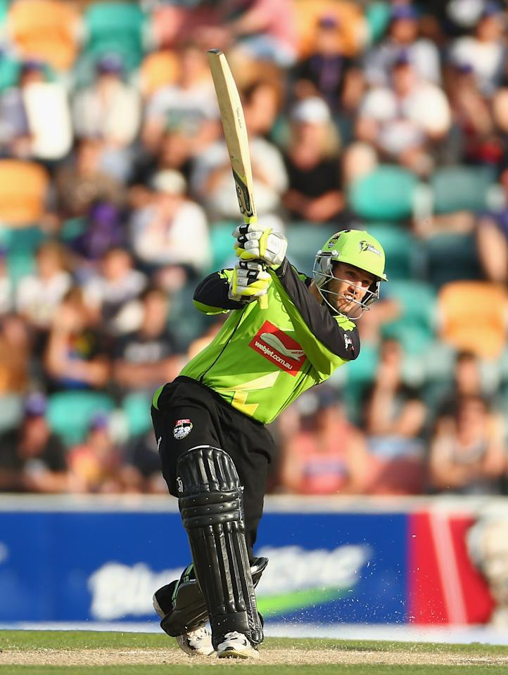 HOBART, AUSTRALIA - DECEMBER 23: Ryan Carters of the Thunder bats during the Big Bash League match between the Hobart Hurricanes and the Sydney Thunder at Blundstone Arena on December 23, 2012 in Hobart, Australia.  (Photo by Robert Cianflone/Getty Images)