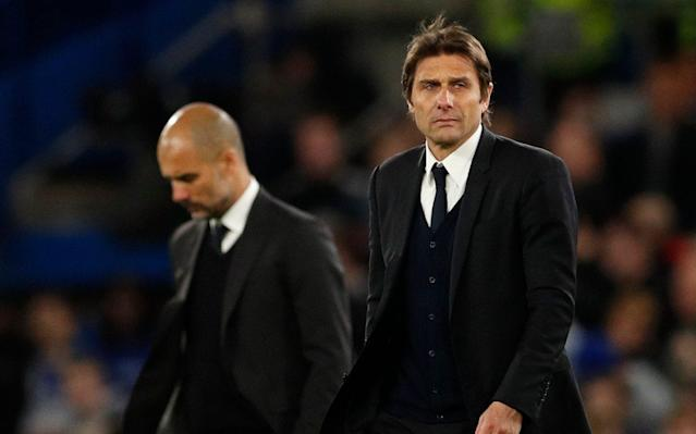 <span>Guardiola has had a much more disappointing first season in England than Antonio Conte</span> <span>Credit: Reuters </span>