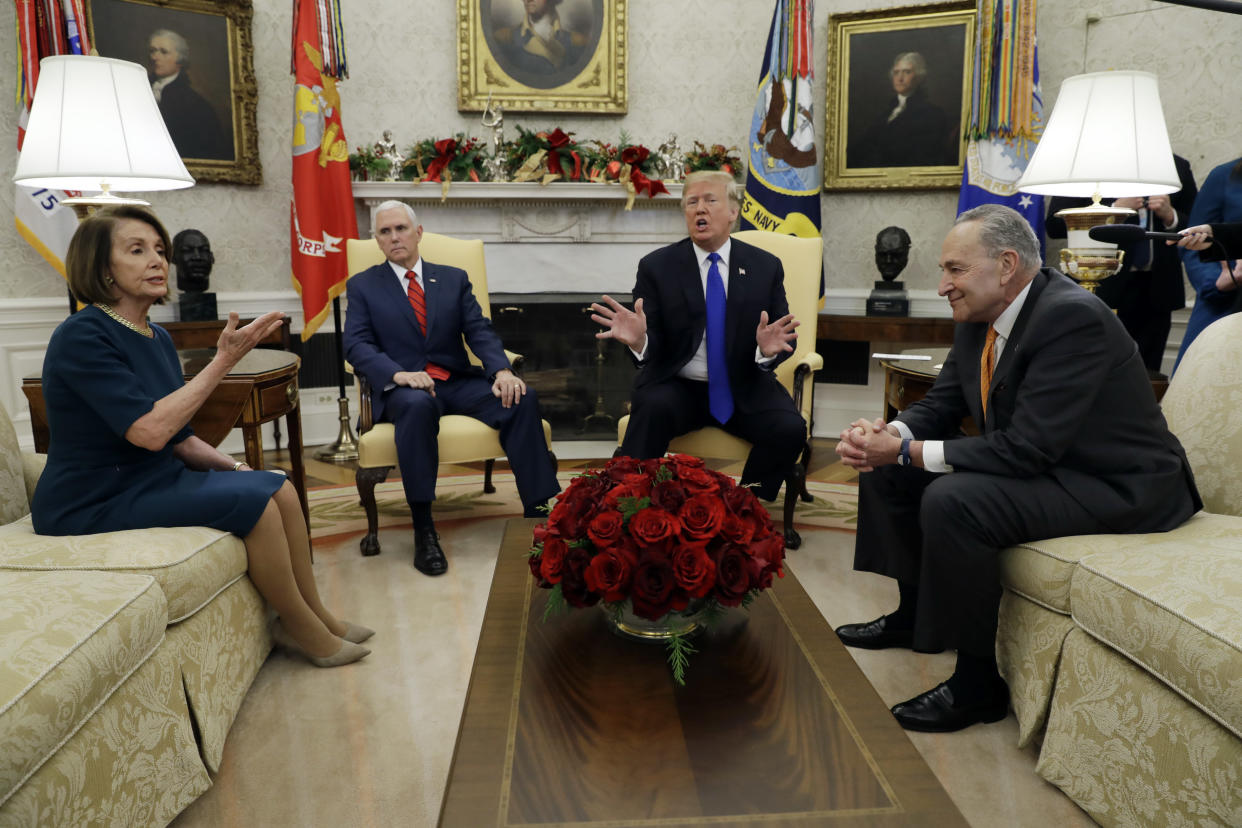 President Trump and Vice President Mike Pence meet with incoming House Speaker Nancy Pelosi, D-Calif., and Senate Minority Leader Chuck Schumer, D-N.Y., in the Oval Office on Dec. 11, 2018. (Photo: Evan Vucci/AP)