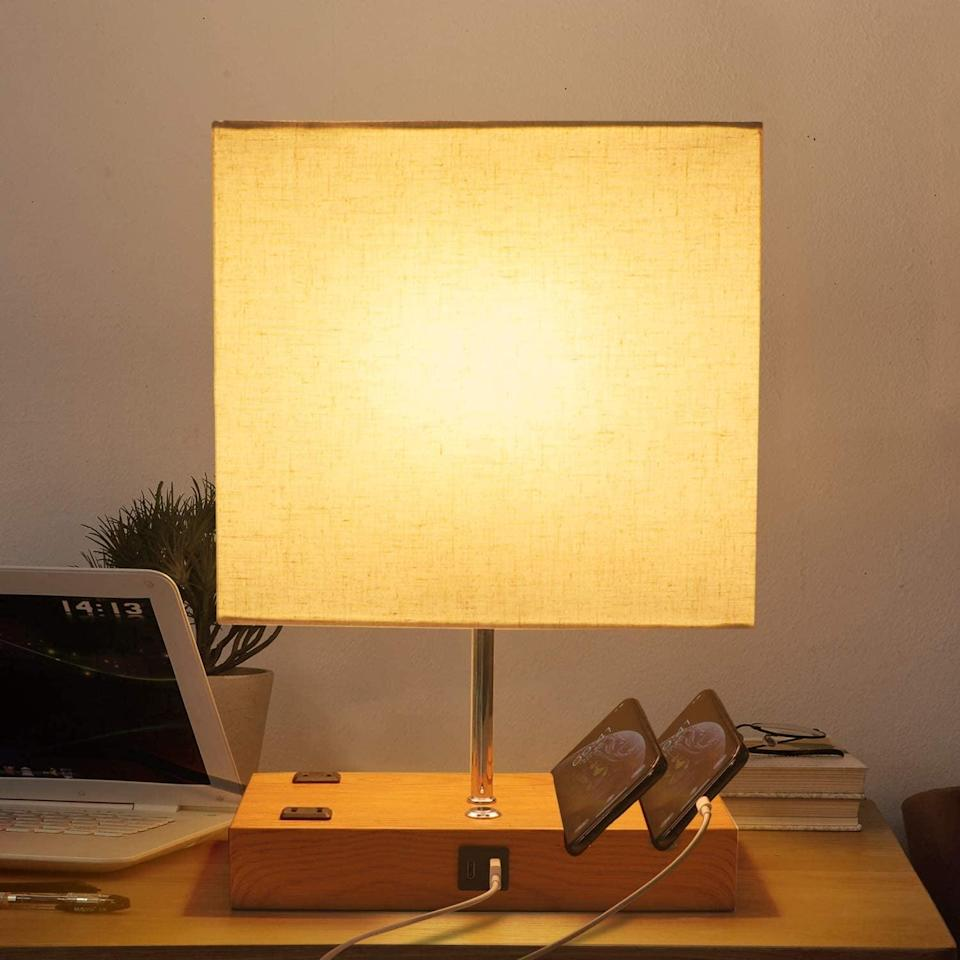 <p>The <span>Bedside Table Lamp with USB Ports and Outlets</span> ($20, originally $25) is a great find for your home office.</p>