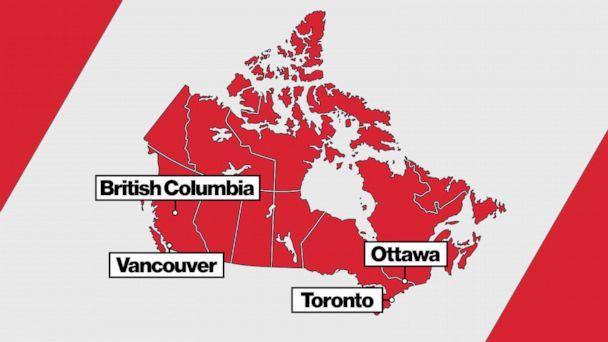PHOTO: Harry and Meghan Canada map (ABC News)