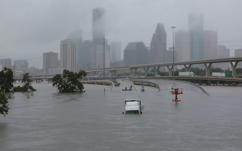 Interstate highway 45 is submerged from the effects of Hurricane Harvey - REUTERS