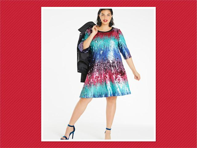 "<p>Ombre Sequin Swing Dress, $125, <a href=""https://www.simplybe.com/en-us/products/ombre-sequin-dress/p/GL093#v=color%3AGL093_MULTI%7C"" rel=""nofollow noopener"" target=""_blank"" data-ylk=""slk:Simply Be"" class=""link rapid-noclick-resp"">Simply Be</a> (Photo:Simply Be) </p>"