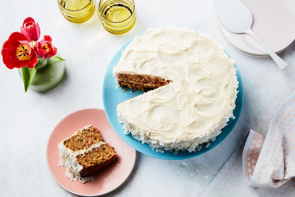 "Can't decide between coconut cake or carrot? <a href=""https://www.epicurious.com/holidays-events/the-best-dessert-for-easter-is-carrot-coconut-cake-article?mbid=synd_yahoo_rss"" rel=""nofollow noopener"" target=""_blank"" data-ylk=""slk:You don't have to"" class=""link rapid-noclick-resp"">You don't have to</a>. Powdered ginger and cinnamon add warming spice to this mash-up of the two classic Easter desserts. <a href=""https://www.epicurious.com/recipes/food/views/classic-carrot-coconut-cake?mbid=synd_yahoo_rss"" rel=""nofollow noopener"" target=""_blank"" data-ylk=""slk:See recipe."" class=""link rapid-noclick-resp"">See recipe.</a>"