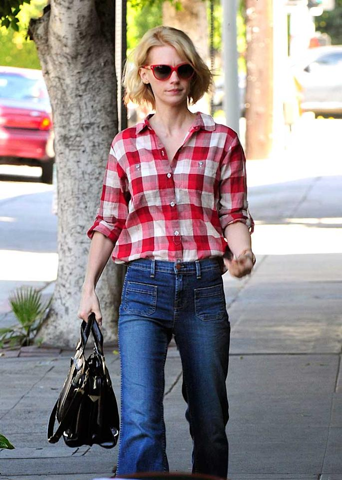 """""""Mad Men's"""" January Jones proved she's mad about plaid in her chic, '70s-style outfit while on her way to lunch in Los Angeles. Only someone with January's figure could pull off those high-waisted jeans! Fern/<a href=""""http://www.splashnewsonline.com"""" target=""""new"""">Splash News</a> - February 9, 2011"""