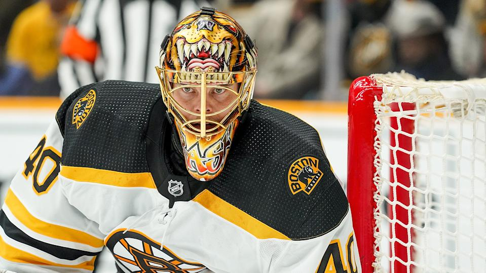 Rask was struck with an elbow early against the Blue Jackets. (Photo by John Russell/NHLI via Getty Images)