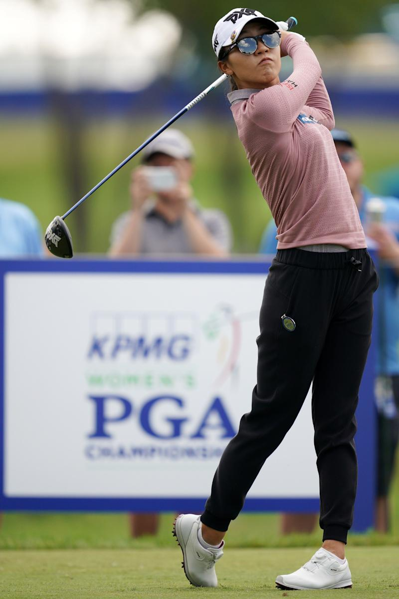 Chaska, MN-June 20: Lydia Ko teed off on the18th hole on the first day of competition during the KPMG Women's PGA Championship Tournament at Hazeltine National Golf Club. (Photo by Anthony Souffle/Star Tribune via Getty Images)