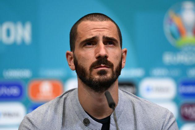 LONDON, ENGLAND - JUNE 25: In this handout picture provided by UEFA, Leonardo Bonucci of Italy speaks to media during the Italy Press Conference ahead of the UEFA Euro 2020 Round of 16 match between Italy and Austria at Wembley Stadium on June 25, 2021 in London, England. (Photo by UEFA/UEFA via Getty Images) (Photo: UEFA via Getty Images)