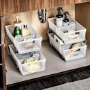 <p>Keep your under the sink storage in your bathroom or kitchen organized with the <span>madesmart 2-Tier Organizer Bath Collection Slide-out Baskets with Handles</span> ($23). It has dividers so you can label where certain things go.</p>