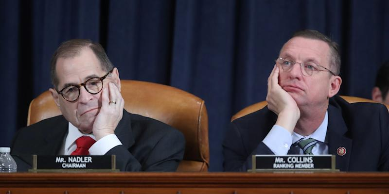 House Judiciary Committee Chairman Rep. Jerrold Nadler (D-NY) and ranking member Doug Collins (R-GA) listen to testimony as the committee holds a hearing to receive counsel presentations of evidence from the impeachment inquiry into U.S. President Donald Trump on Capitol Hill in Washington, U.S., December 9, 2019. REUTERS/Jonathan Ernst/Pool