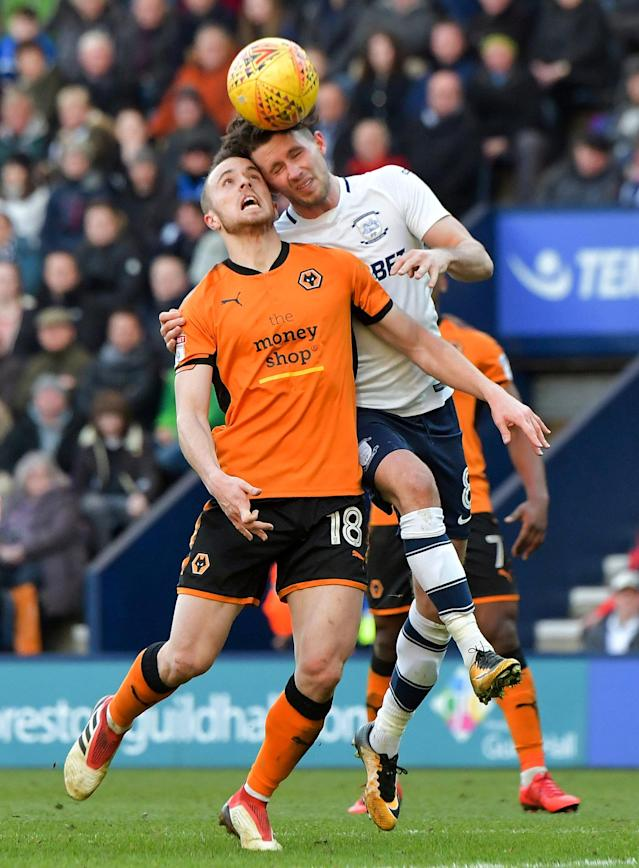 "Soccer Football - Championship - Preston North End vs Wolverhampton Wanderers - Deepdale, Preston, Britain - February 17, 2018 Wolverhampton Wanderers' Diogo Jota in action with Preston's Alan Browne Action Images/Paul Burrows EDITORIAL USE ONLY. No use with unauthorized audio, video, data, fixture lists, club/league logos or ""live"" services. Online in-match use limited to 75 images, no video emulation. No use in betting, games or single club/league/player publications. Please contact your account representative for further details."