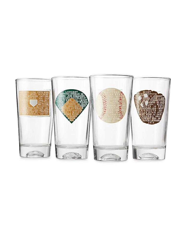"""<p>Over the years he's been your encyclopedia for baseball facts. This year, present him with these glasses that he can enjoy while watching his favorite games on the couch. Each glass has information on record-breaking stats in baseball history, from the longest hitting streak to the most no-hitters.</p> <p><strong>To buy:</strong> $42; <a href=""""https://click.linksynergy.com/fs-bin/click?id=93xLBvPhAeE&subid=0&offerid=399947.1&type=10&tmpid=319&RD_PARM1=http%253A%252F%252Fwww.uncommongoods.com%252Fproduct%252Frecord-breaking-baseball-glasses-set-of-4&u1=RS,GIF,ART,Record-BreakingBaseballGlasses,agouras,201705,I"""" target=""""_blank"""">uncommongoods.com</a>.</p>"""