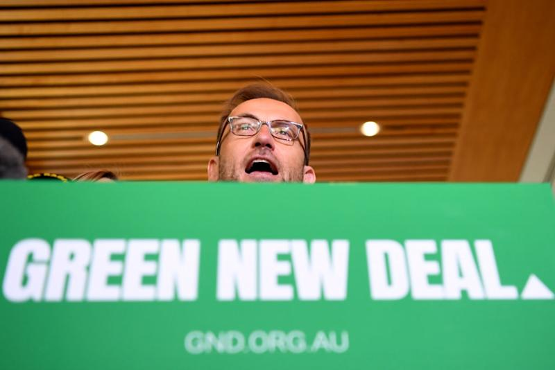 Pictured: Greens leader Adam Bandt announces Greens campaign of Green New Deal.