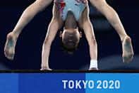 <p>Hongchan Quan of Team China competes in the Women's 10m Platform Final on day thirteen of the Tokyo 2020 Olympic Games at Tokyo Aquatics Centre on August 05, 2021 in Tokyo, Japan. (Photo by Clive Rose/Getty Images)</p>