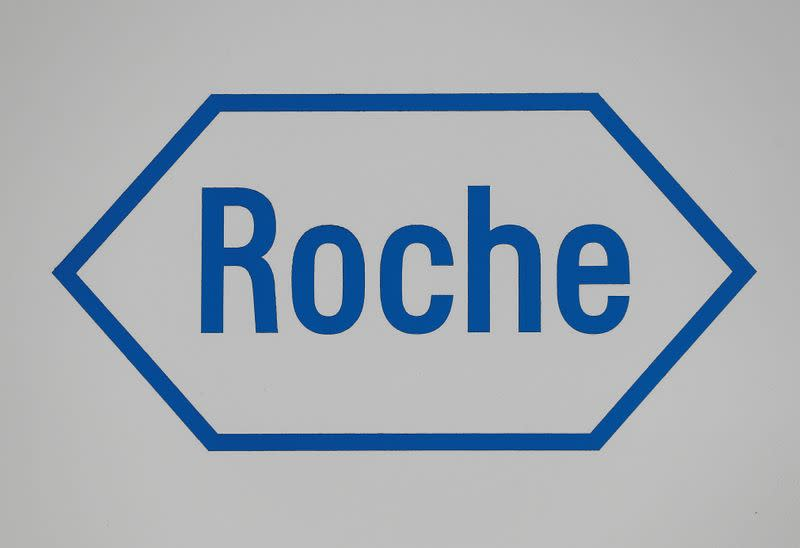 A sign at a diagnostics site for Swiss pharmaceutical giant Roche is seen as the company said problems at a new warehouse delayed the dispatch of some products