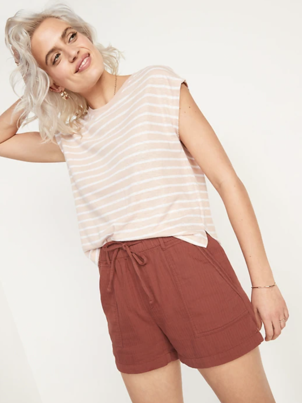 High-Waisted Textured Twill Shorts in Copper Moon (Photo via Old Navy)