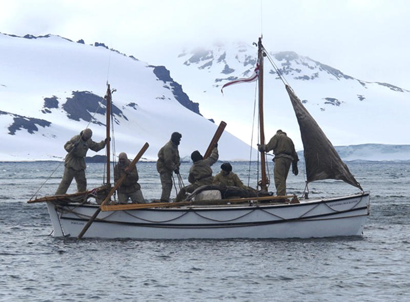 "In this Jan. 23, 2013 photo released by Shackleton Epic, adventurers aboard their boat Alexander Shackleton leave Elephant Island. A modern-day team of six led by Tim Jarvis and Barry ""Baz"" Gray used similar equipment and clothes to re-enact a 1916 expedition led by Ernest Shackleton to save his crew after their ship got stuck in Antarctica's icy waters. They reached an old whaling station on remote South Georgia island Monday, Feb. 11, 2013, 19 days after leaving Elephant Island. Just as Shackleton did in 1916, Jarvis and his team sailed 800 nautical miles across the Southern Ocean in a small lifeboat and then climbed over crevasse-filled mountains in South Georgia. (AP Photo/Shackleton Epic, Jo Stewart)"