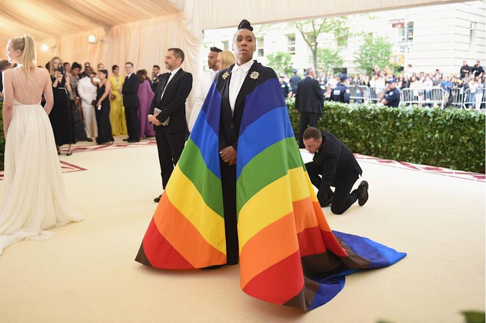 """<p>It's because <a href=""""https://www.instagram.com/p/Bift3XqBRIE/"""" rel=""""nofollow noopener"""" target=""""_blank"""" data-ylk=""""slk:Lena Waithe donned the colors"""" class=""""link rapid-noclick-resp"""">Lena Waithe donned the colors</a> as a cape at the Met Gala in 2018. """"This epic moment of defiance was brought to you by Carolina Herrera,"""" she wrote on Instagram.</p>"""