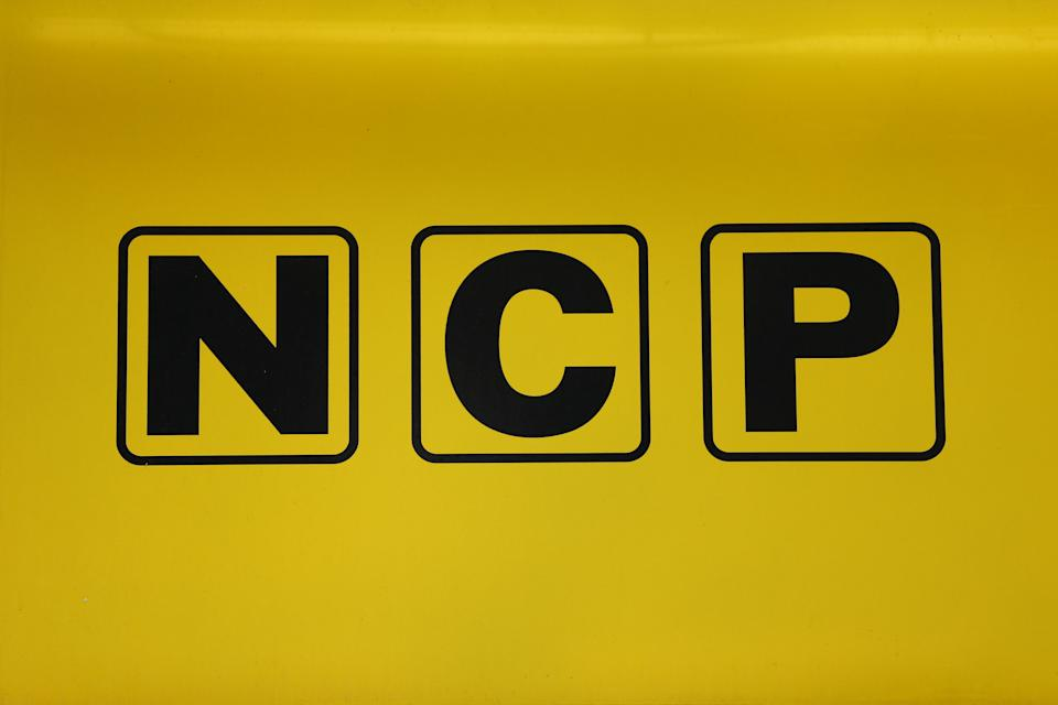 An NCP car park sign in London.