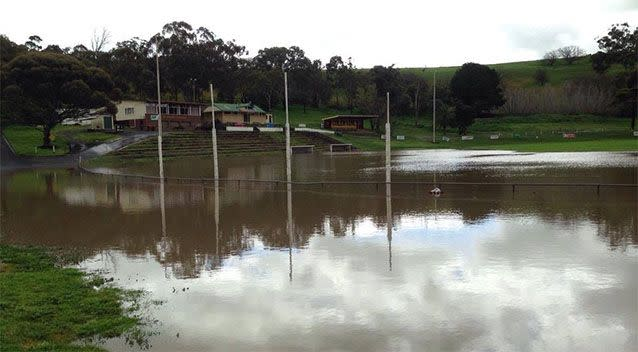 The local footy field has been inundated with water. Photo: Dean Miller
