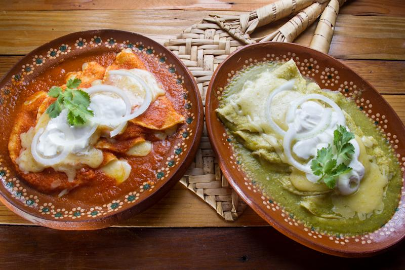 Authentic mexican green and red enchiladas