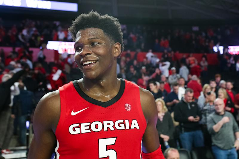 Anthony Edwards #5 of the Georgia Bulldogs looks on during a game against the Auburn Tigers at Stegeman Coliseum on February 19, 2020 in Athens, Georgia. (Carmen Mandato/Getty Images)