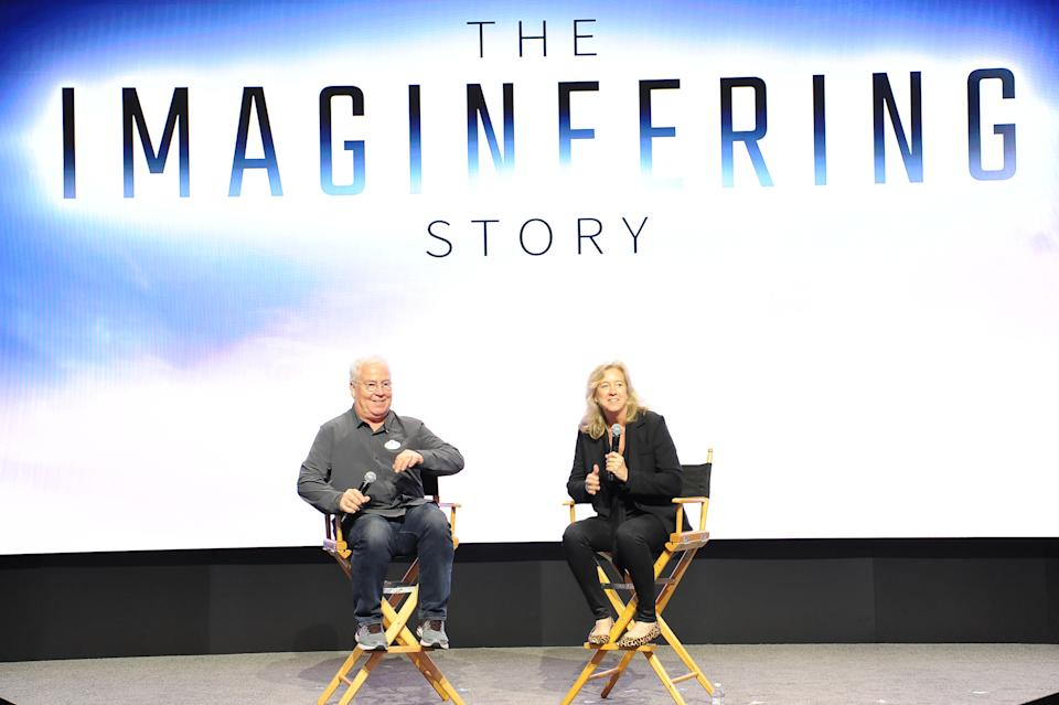 Bob Weis and Leslie Iwerks discuss 'The Imagineering Story' at D23 Expo 2019. (Credit: Walt Disney Company/Image Group LA via Getty Images)