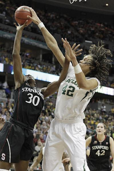 Baylor center Brittney Griner (42) blocks Stanford forward Nnemkadi Ogwumike (30) shot during the second half of an NCAA women's Final Four semifinal college basketball game, in Denver, Sunday, April 1, 2012. (AP Photo/Eric Gay)
